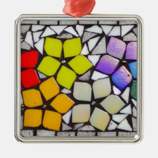 Flowers in Silver - A Mosaic Inspired Collection Silver-Colored Square Decoration