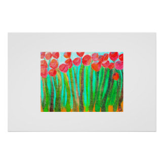 Flowers in tall grass poster