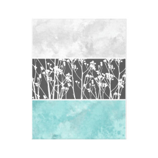 Flowers in teal and grays canvas canvas print