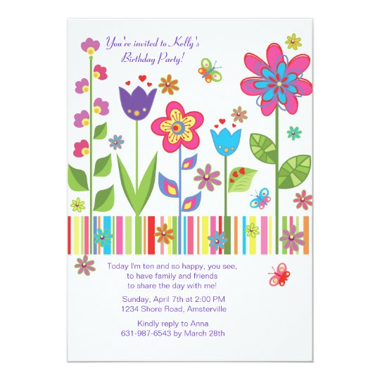 Flowers in the Garden Invitation