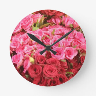 Flowers in the Philippines, pink and red roses Round Clock
