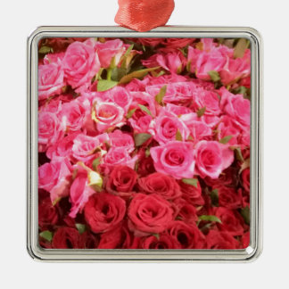 Flowers in the Philippines, pink and red roses Silver-Colored Square Decoration