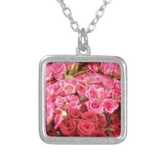 Flowers in the Philippines, pink and red roses Silver Plated Necklace