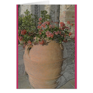 Flowers in Tuscan terracotta planter Card