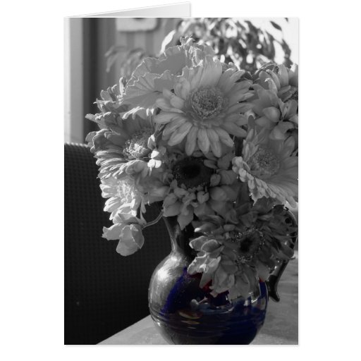Flowers in Vase Black and White Photograph Card