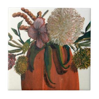 Flowers In Vase Watercolor Ceramic Tile