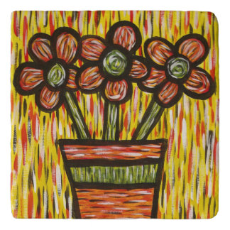 Flowers In Vase With Yellow Colors In Motion Trivet