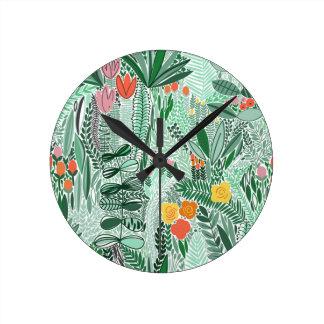 Flowers Indonesia ethno design Round Clock