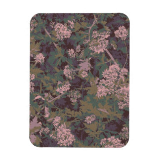 Flowers, leafs, and camouflage rectangular photo magnet