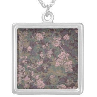Flowers, leafs, and camouflage silver plated necklace