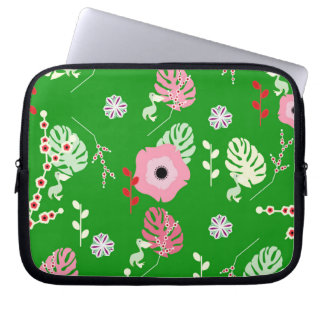 Flowers, leaves and little pelicans laptop sleeve