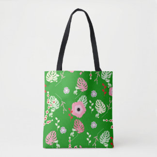 Flowers, leaves and little pelicans tote bag