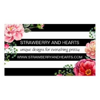 Flowers, Leaves, Blossoms, Stripes - Pink Red Pack Of Standard Business Cards