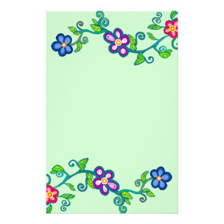 Flowers, Leaves & Scroll Stationery Paper