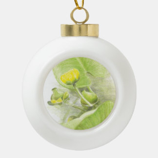 Flowers lilies ceramic ball christmas ornament