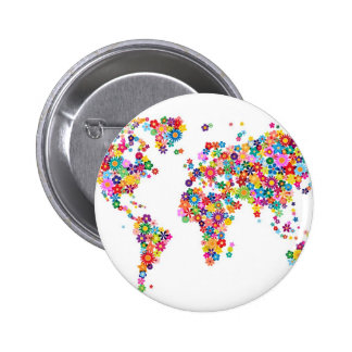 Flowers Map of the World Map 6 Cm Round Badge