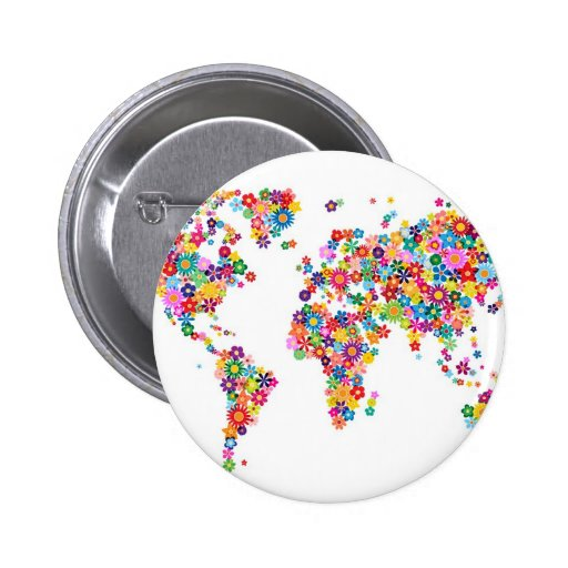 Flowers Map of the World Map Pinback Buttons