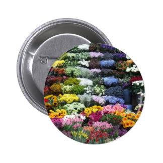 Flowers market pinback button