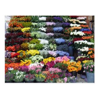 Flowers market postcard