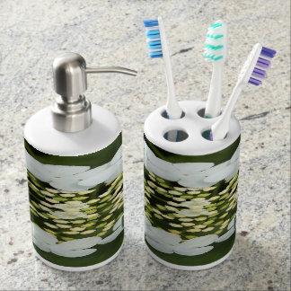 Flowers monogrammed soap dispenser and toothbrush holder