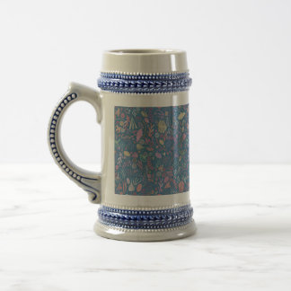 Flowers multicoloured smooth watercolors beer stein