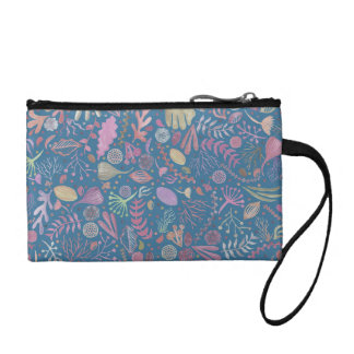 Flowers multicoloured smooth watercolors coin purse