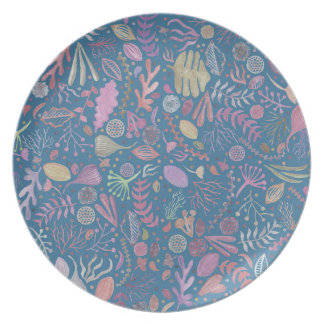 Flowers multicoloured smooth watercolors dinner plates