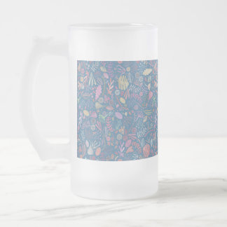 Flowers multicoloured smooth watercolors frosted glass beer mug