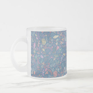 Flowers multicoloured smooth watercolors frosted glass coffee mug