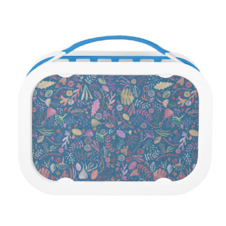 Flowers multicoloured smooth watercolors lunch box