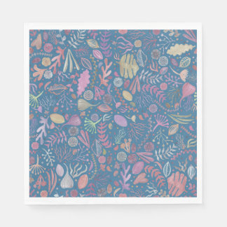 Flowers multicoloured smooth watercolors paper napkin