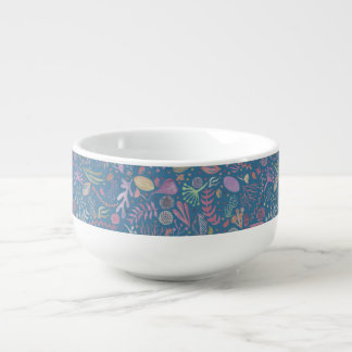 Flowers multicoloured smooth watercolors soup mug