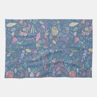 Flowers multicoloured smooth watercolors tea towel