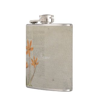 Flowers Newspaper Hip Flask