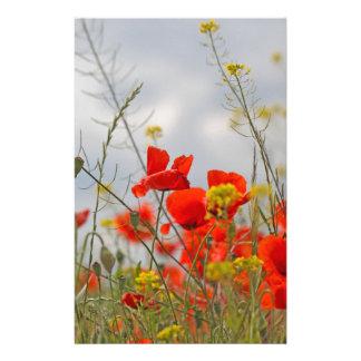 Flowers of common poppy in a field. custom stationery