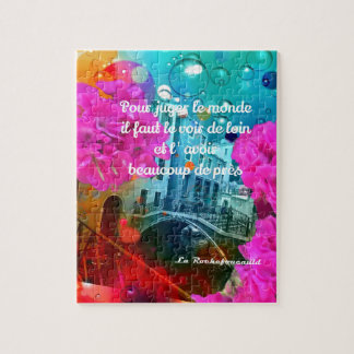 Flowers old bridge and good message jigsaw puzzle