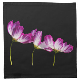 Flowers On Black Napkin