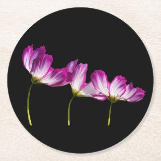 Flowers On Black Round Paper Coaster