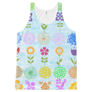 Flowers on blue bricks All-Over print tank top