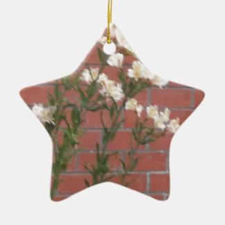 Flowers on Brick Ceramic Ornament