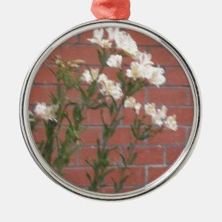 Flowers on Brick Metal Ornament