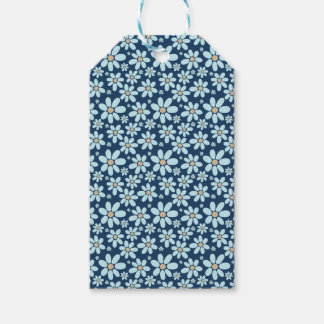 Flowers on dark blue gift tags