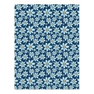 Flowers on dark blue postcard