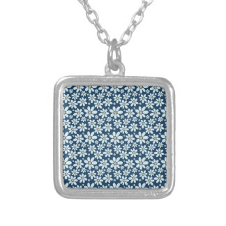 Flowers on dark blue silver plated necklace