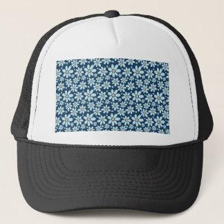 Flowers on dark blue trucker hat