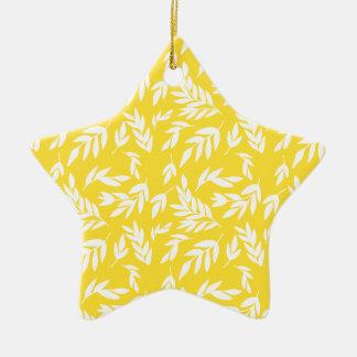 Flowers on honey yellow ceramic ornament