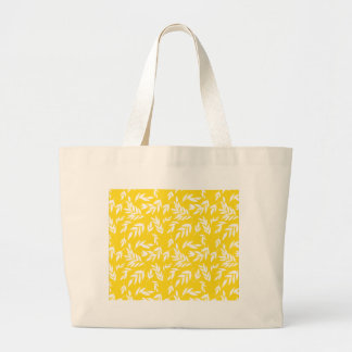 Flowers on honey yellow large tote bag