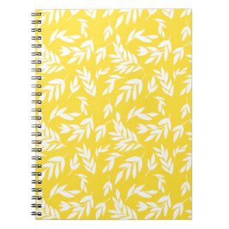 Flowers on honey yellow notebook