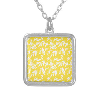 Flowers on honey yellow silver plated necklace