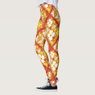 Flowers on Orange Leggings